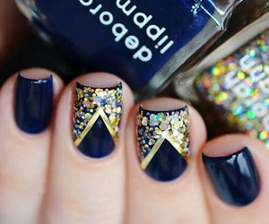 nails, gold, and blue image