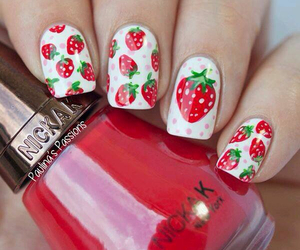 nails, strawberry, and white image