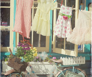 vintage, dress, and bike image