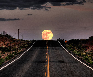 moon, road, and night image