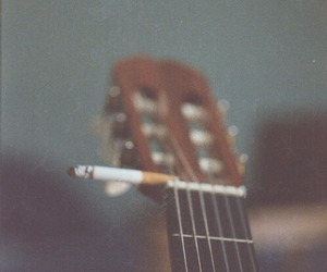 guitar, cigarette, and music image