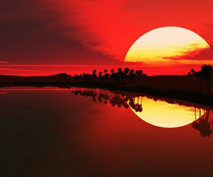 sunset, sun, and red image