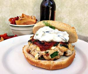 burger, feta, and food image