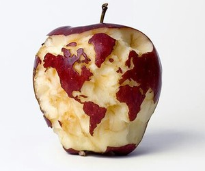 apple, world, and food image