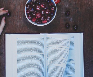 book, fruit, and cherry image