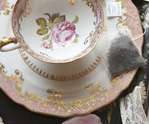 floral, tea, and tea party image