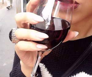 nails, girl, and wine image