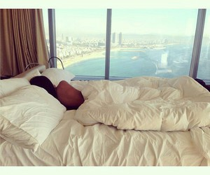 girl, bed, and view image