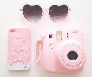 camera, glasses, and pink image