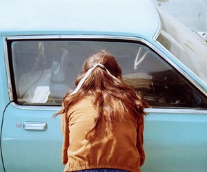 vintage, girl, and car image
