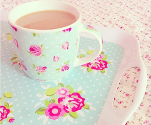 coffee, flowers, and girly image