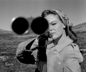 gun, woman, and black and white image
