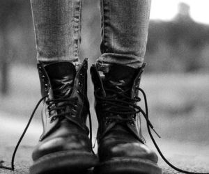 black and white, shoes, and boots image