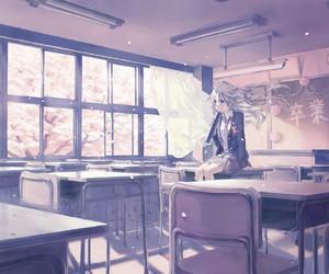 anime, school, and anime girl image