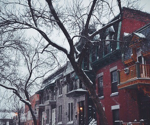 apartments, snow, and winter image