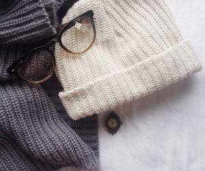 glasses, sweater, and fashion image