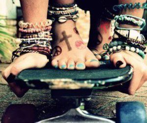 beautiful, bracelets, and foot image