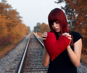 girl, heart, and alone image