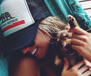 girl, dog, and smile image