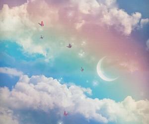 sky, rainbow, and moon image