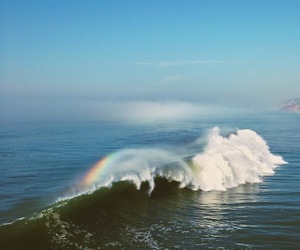 wave, rainbow, and photography image