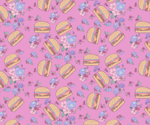 pink, background, and burgers image