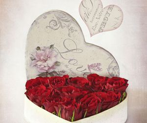 love, heart, and roses image