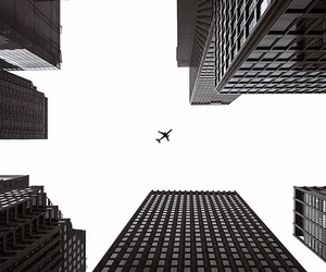 black and white, building, and plane image