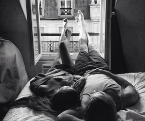 bed, black&white, and goals image