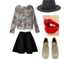 clothes, flowers, and lipstick image