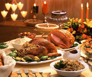 thanksgiving, candles, and food image