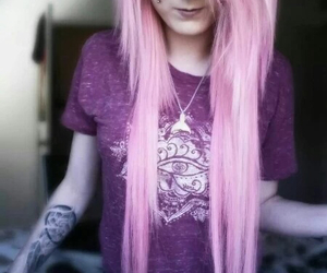 dyed hair, pink hair, and tattoo image