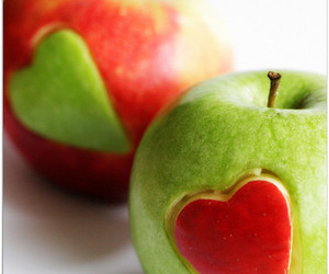 apple, heart, and red image