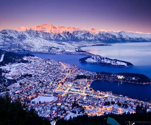 beautiful, city lights, and mountains image