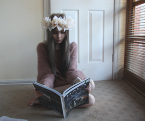 girl, pretty, and reading image