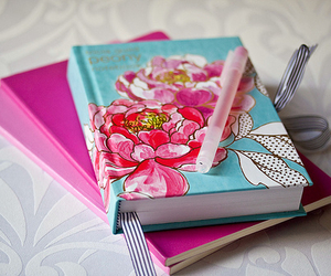 book, notebook, and pink image