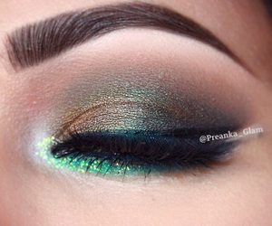eyebrows, green, and eyes image