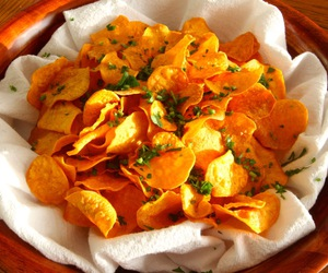 chips, potato chips, and healthy chips image