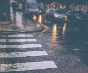 city, street, and rain image