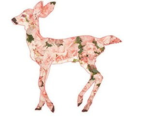 deer, flowers, and pink image