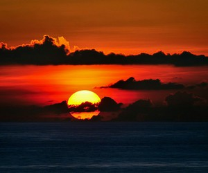 sunset, sun, and clouds image