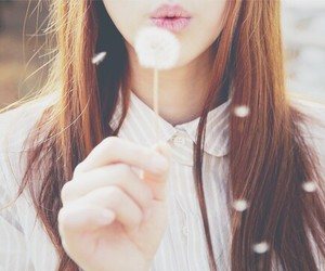 girl, dandelion, and blow image