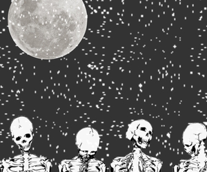 grunge, moon, and skeleton image