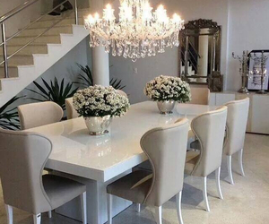 chandelier, modern designs, and flowers image
