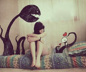 girl, alone, and bed image