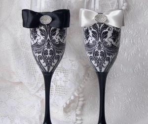 glass, lace, and wedding image
