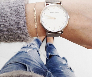 watch, fashion, and jeans image