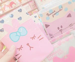 kawaii, pink, and cat image