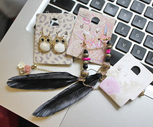 earrings, owl, and feather image