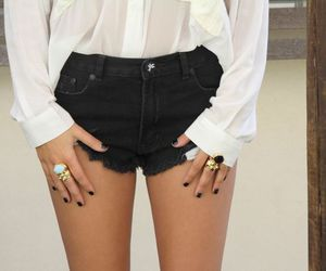 blouse, girl, and shorts image